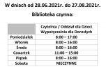 Godziny pracy w okresie wakacyjnym (2021)